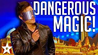 DANGEROUS MAGICIAN Throws Knife at Host! | Asia's Got Talent | Got Talent Global