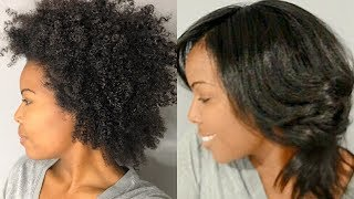 How To: Straighten Natural Hair - Blow Out, Straighten, Trim, and Silk Wrap