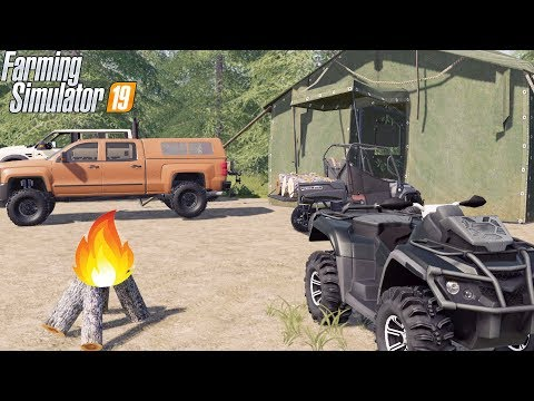 DEEP WOODS CAMPING IN TENT! | CHEVY DURAMAX + CANAM | FARMING SIMULATOR 2019 thumbnail