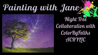 Art Collab with ColorByFeliks - Night Tree Step by Step Acrylic Painting on Canvas for Beginners