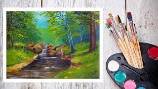 Видео урок Рисуем Гуашью Летний пейзаж №2 #Dari Art