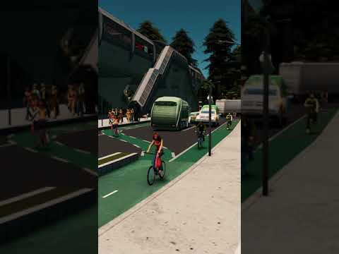 Cities Skylines - Bicycle Crossing #Shorts thumbnail