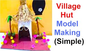 Village hut making with waste material | cardboard | school model | exhibition | best out of waste