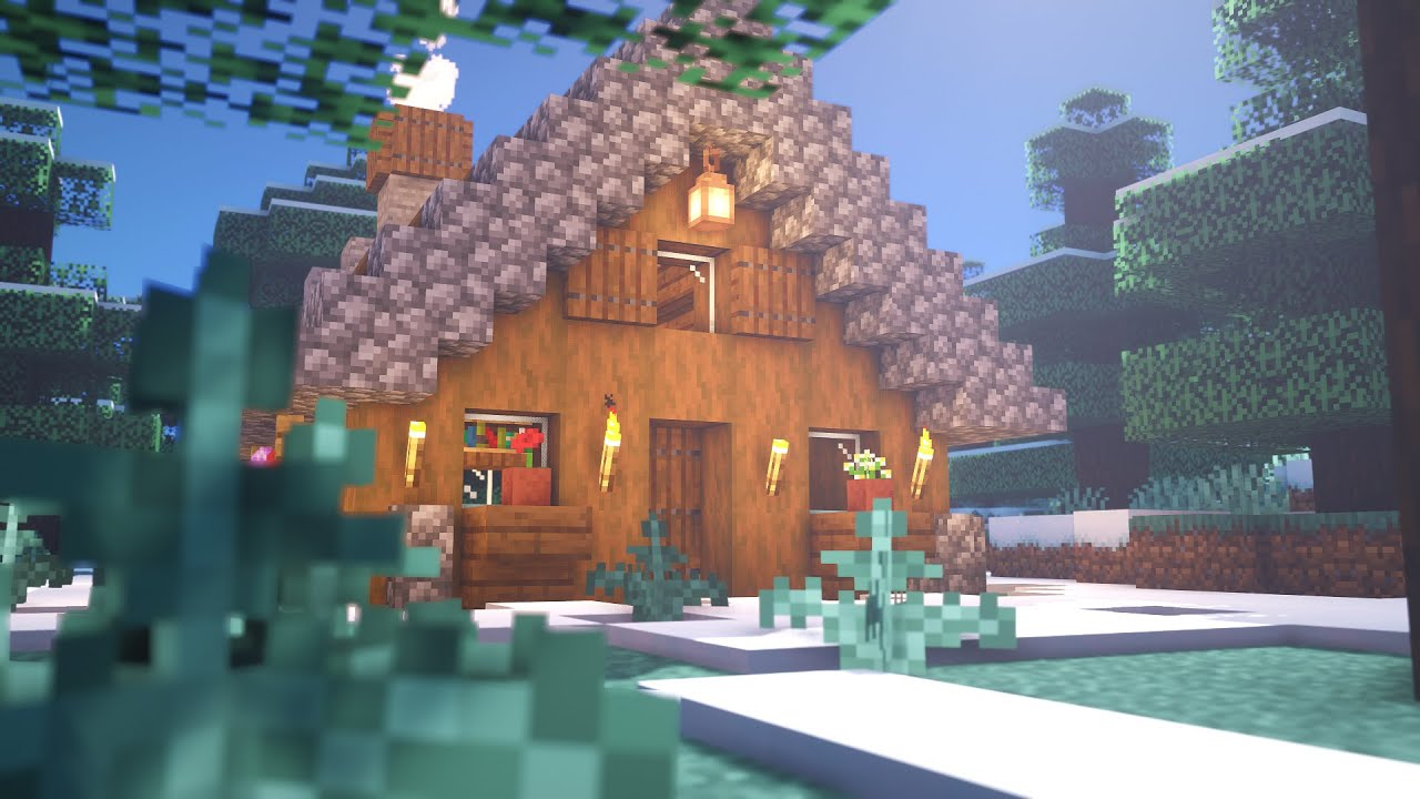 Minecraft: How To Build a Small Spruce Cabin  Tutorial