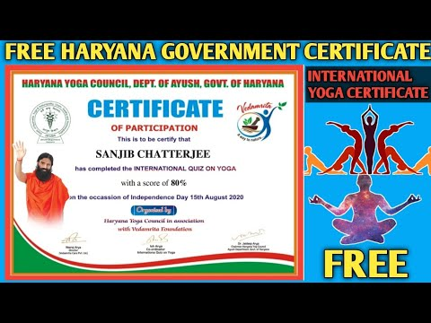 Yoga Certificate | International Yoga Certificate | Free Online Government Certificate | Free Certif