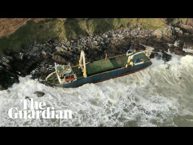 Abandoned vessel washes up on Irish coast after Storm Dennis