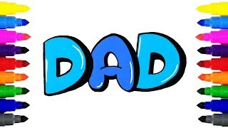 How to Draw DAD in Bubble Letters | Drawing and Coloring DAD in Bubble Letters | Mother