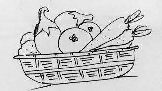 vegetable basket drawing draw vegetables drawings step easy paintingvalley