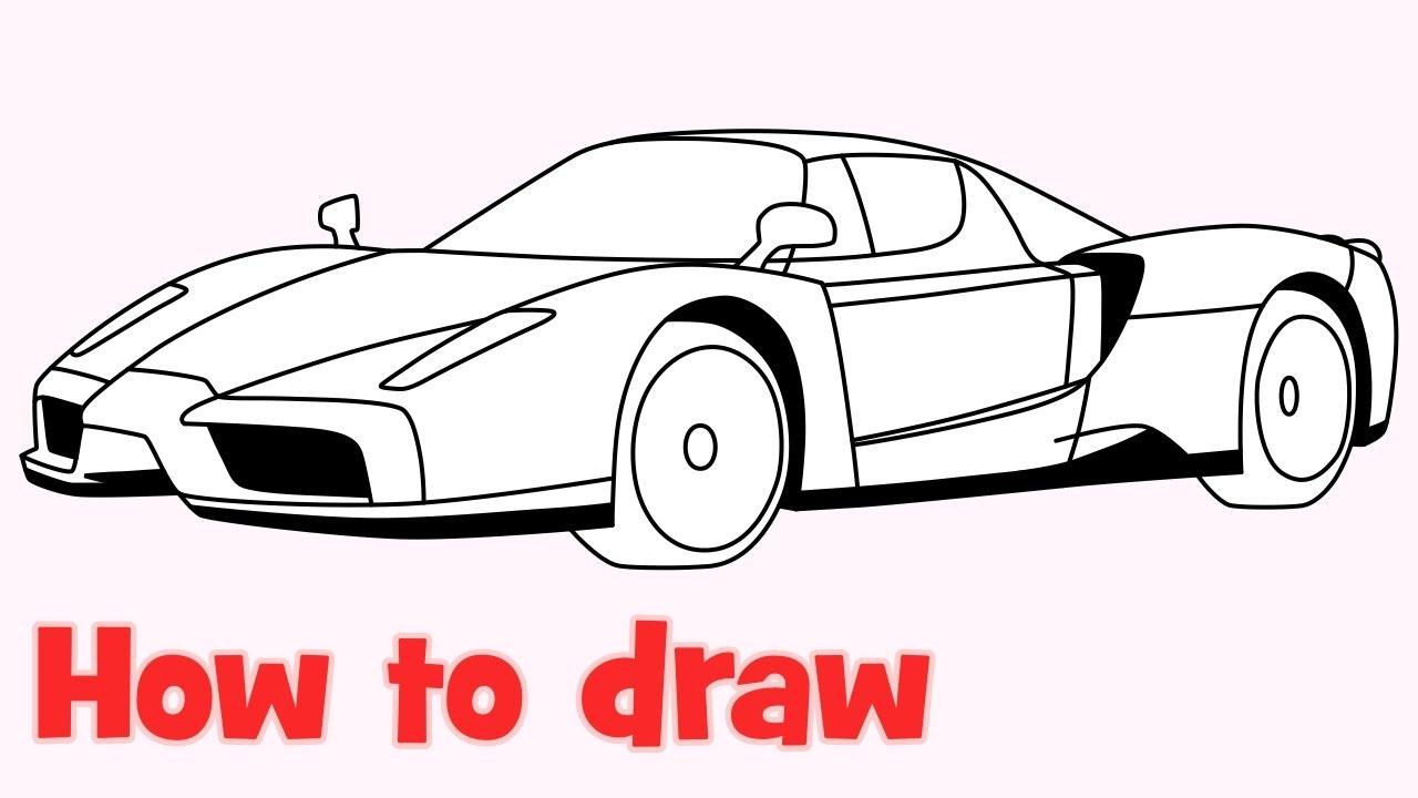 How to draw a car Enzo Ferrari step by step - YouTube