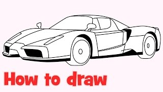 How to draw a car Enzo Ferrari step by step