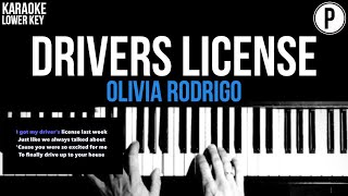 Olivia Rodrigo - drivers license Karaoke LOWER KEY Slowed Acoustic Piano Instrumental Cover Lyrics