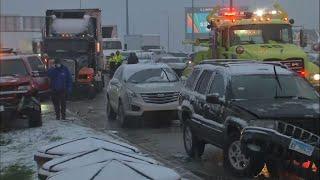 Weather blamed in huge crash on Chicago expressway