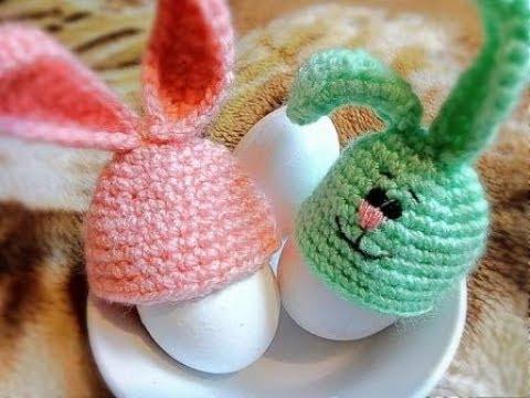 шапочки зайчики для пасхальных яиц крючком вяжем шапочки крючком