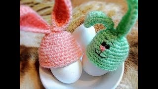 Шапочки Зайчики для пасхальных яиц крючком. Вяжем шапочки крючком. Поделки к Пасхе. Зайчики крючком