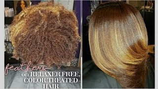 Feathers on Relaxer Free, Color Treated Hair