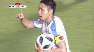 敵陣での連動したパス回しからゴール前に繋がったボールを小林 悠(川崎...