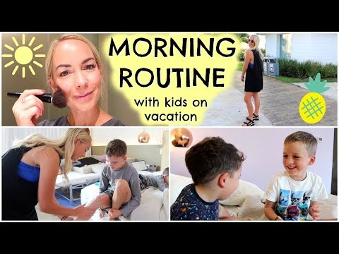morning-routine-with-kids-on-vacation- -what-to-pack-in-a-beach-bag