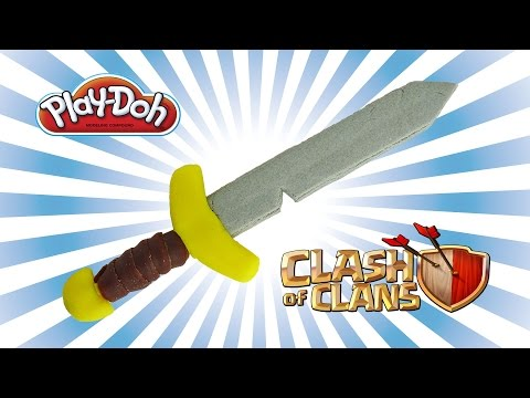 play doh clash of clans barbarian sword - how to make with playdough