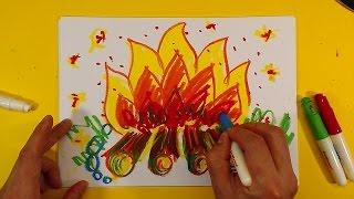 Как нарисовать ОГОНЬ / Урок рисования для детей от 3 лет