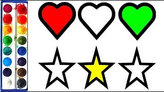 How to Draw Star And Heart | Heart and Star Coloring Pages