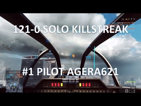 Battlefield 4 Attack Helicopter | 121-0 Solo | #1 Pilot Agera621