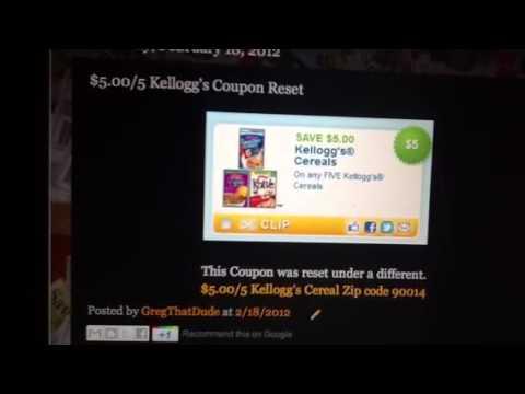 Kellogg's $5.00/5 Coupon Reset Under New Zip Code