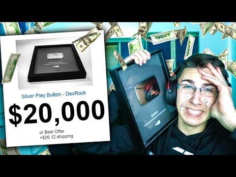 PRODAO SAM SILVER PLAY BUTTON ZA 20,000 EVRA!!