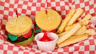 Hamburger Cupcakes and French Fries from Cookies Cupcakes and Cardio thumbnail