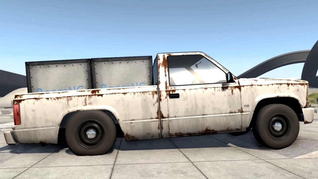 Beamng Drive Overloaded Pickup Truck With 2 Metal Boxes