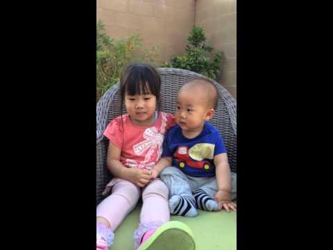 B & Dri having fun on the rocking chair 20140514