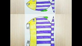 Kağıttan Farklı Çizimler- Balık Nasıl Yapılır ? Balık Çizimi- RENKLİ DÜNYAM