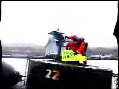 Greenpeace blockade Trident submarine at Faslane
