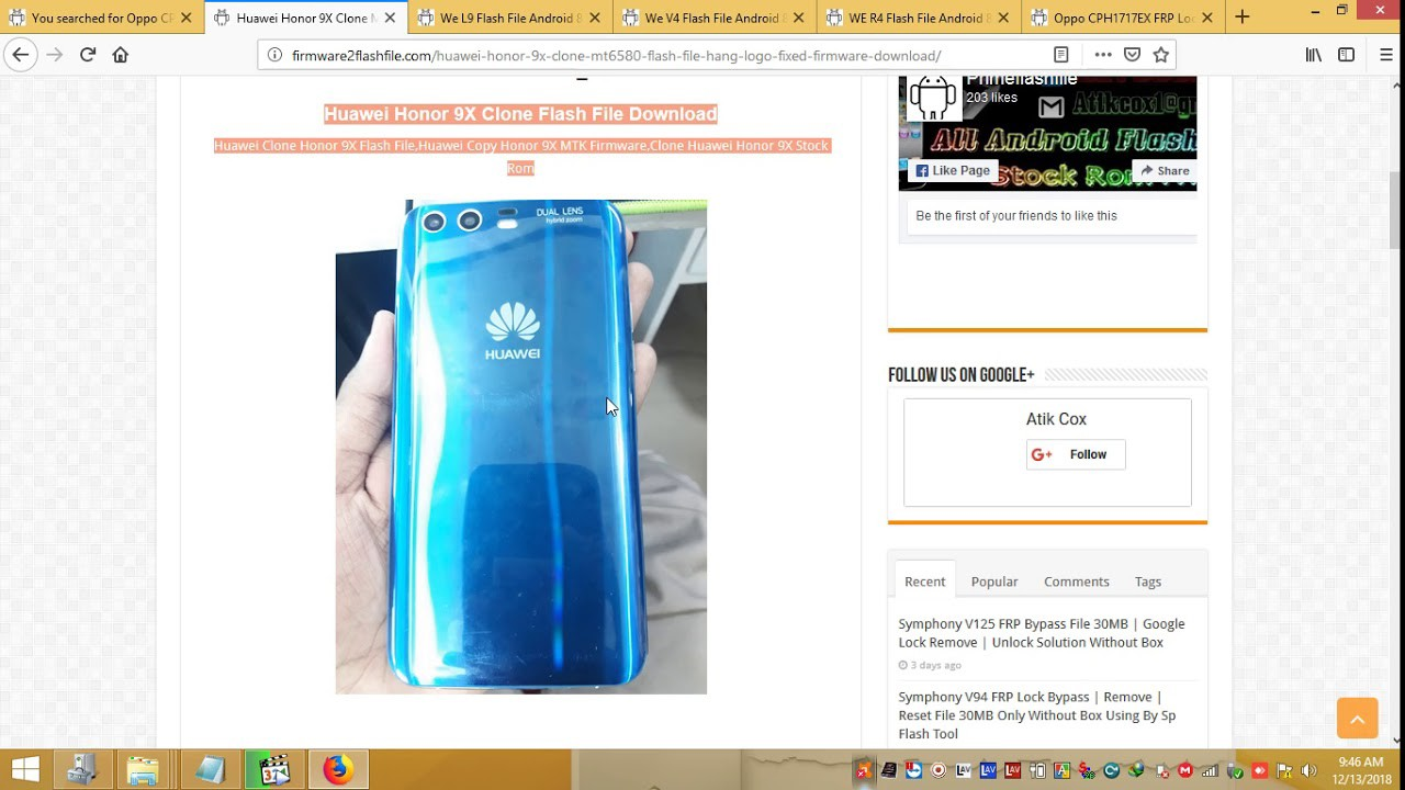 Huawei Honor 9X Clone MT6580 Flash File Hang On Logo Fixed Firmware Stock  Rom Download