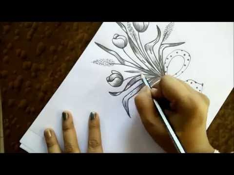 how to draw tulips bouquet youtube