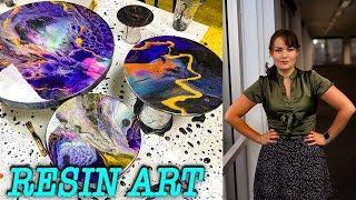 Resin Art project: Black pigment background , Liquitex ink, Pearl Ex powders, Resin art, Barnes epox