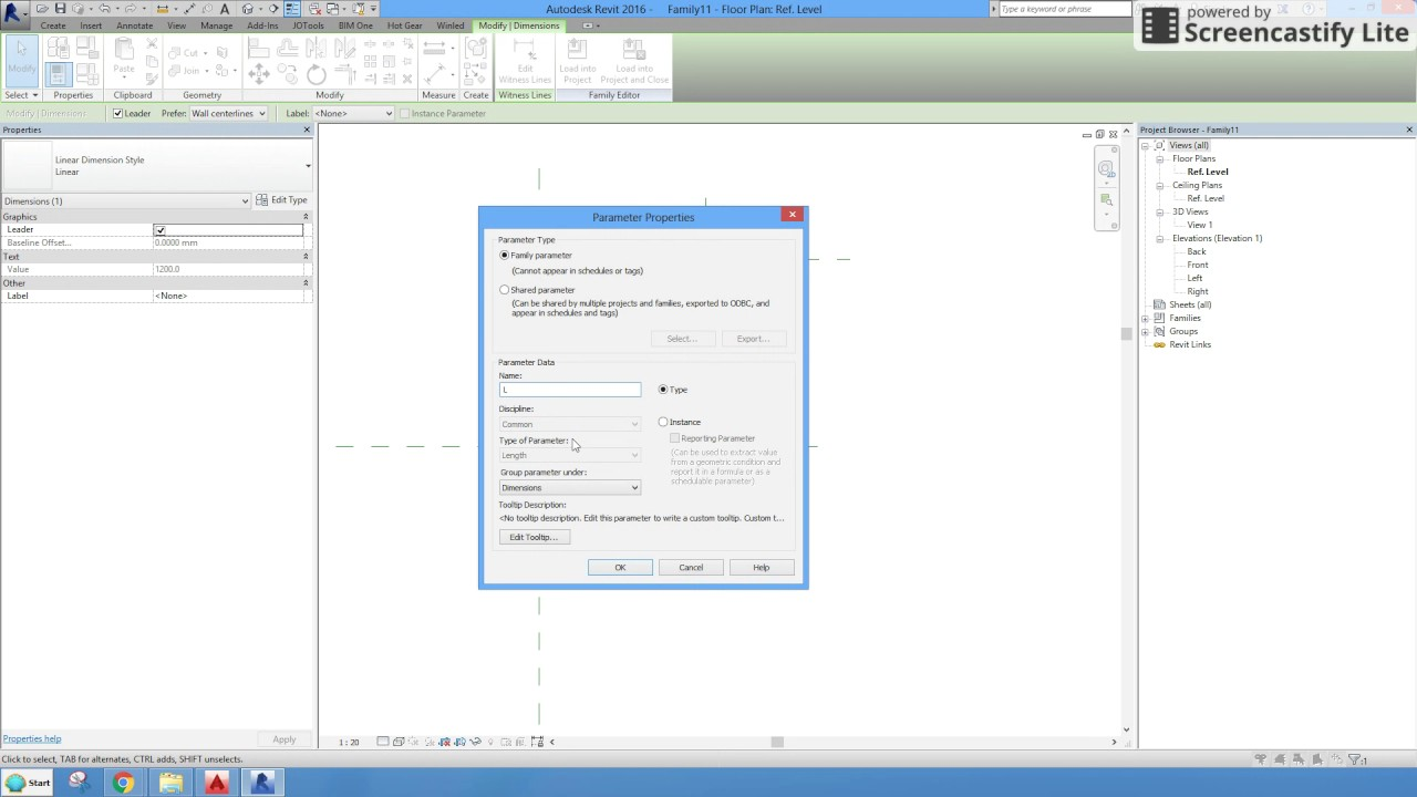 Revit 2016_Create Family with instance parameter for Length