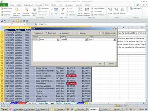 Office 2010 Class #35: Excel Sort and Filter (Data Analysis)