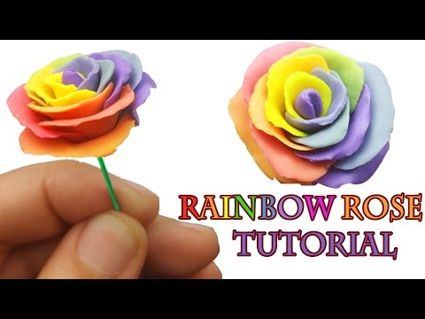 How to make a rainbow rose polymer clay tutorial youtube for How to make a multicolored rose
