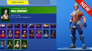"*NEW* LEAKED ""GRILL SERGEANT"" SKIN! DURR BURGER EMPLOYEE! FORTNITE BATTLE ROYALE"
