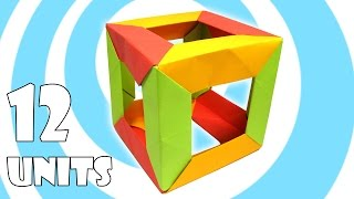 Modular Origami Cube Tutorial (12 units) (Tomoko Fuse)