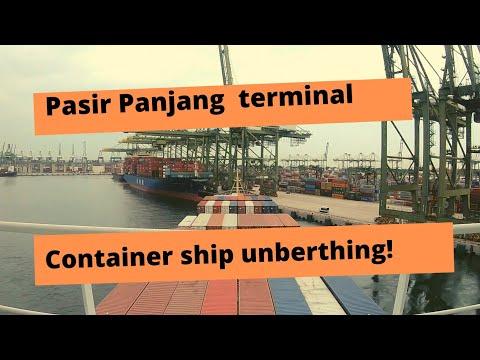 Singapore Port - Pasir Panjang Terminal. Unberthing - Container Ship