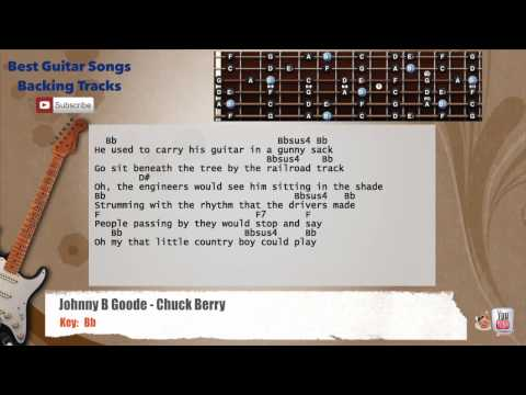 Johnny B Goode - Chuck Berry Guitar Backing Track with scale, chords and lyrics