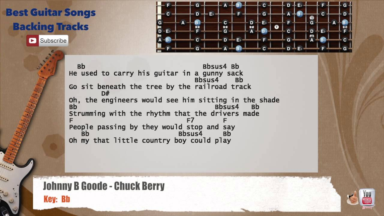 Johnny B Goode Chuck Berry Guitar Backing Track With Scale Chords