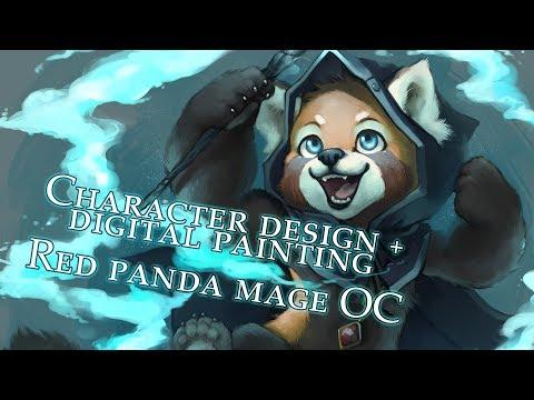 Character Design + Digital Painting: Red Panda Mage OC