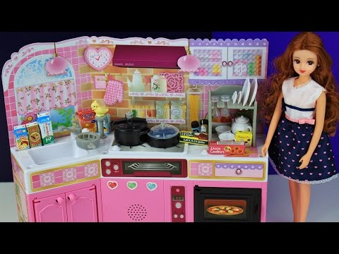 Thumbnail: Toy kitchen pretend play food cooking baking Japanese Barbie toy playset