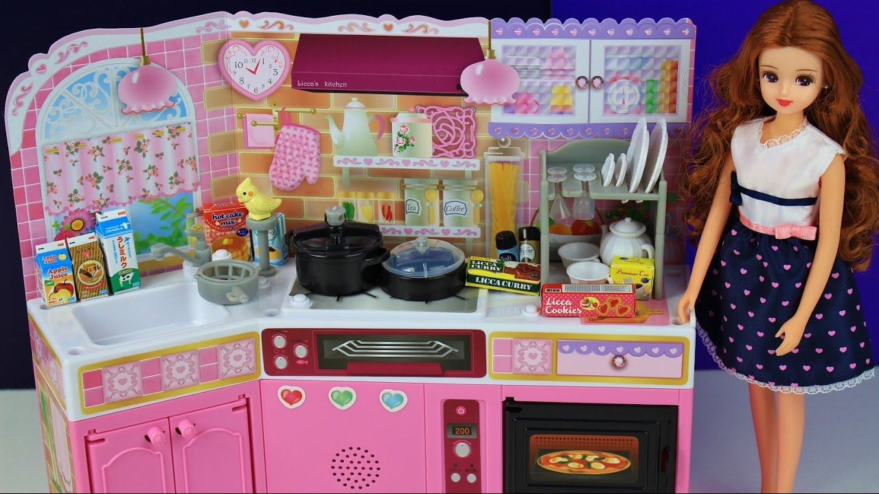 Toy Kitchen Pretend Play Food Cooking Baking Anese Barbie Playset