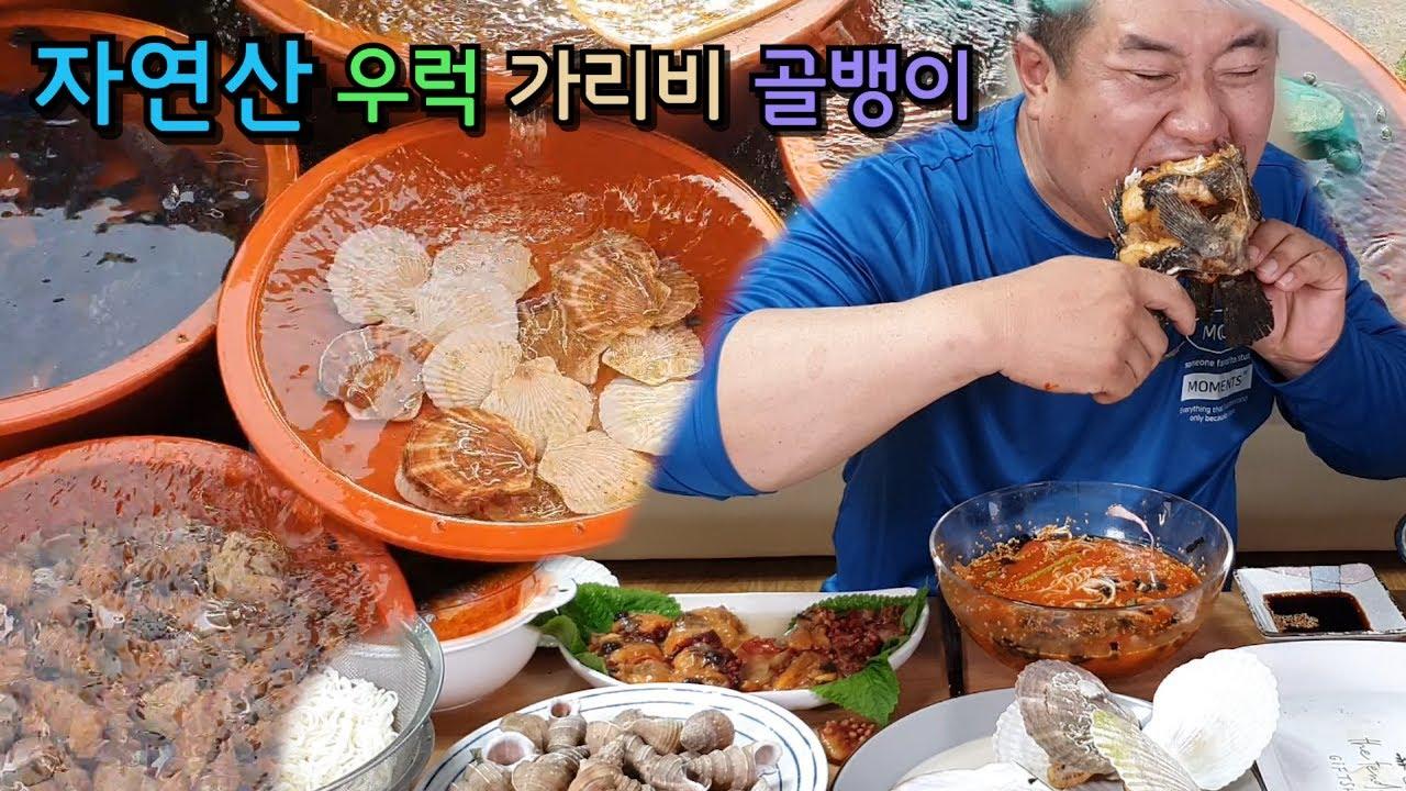 리얼먹방) 살아 움직이는 물회 우럭 통튀김 왕가리비 먹방 풀코스 이런게먹방이지 ASMR Mukbang  리얼사운드 Sashimi seafood 刺身海産物