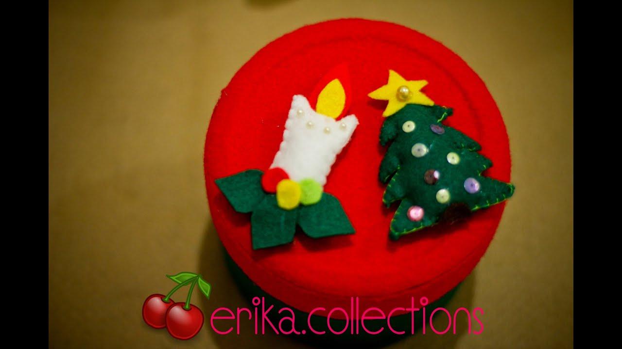 Membuat Hiasan Toples Flanel bentuk lilin natal- Erika