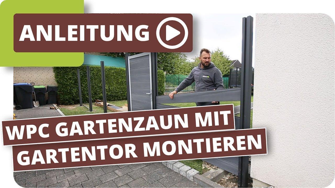 Wpc Gartenzaun Sichtschutzzaun Mit Gartentor Montieren Youtube