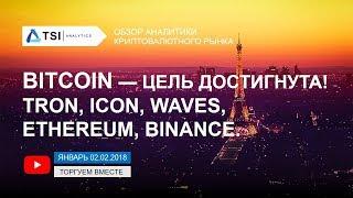 Bitcoin — цель достигнута! ICON, TRON, Ethereum, Waves, Binance (BNB)   Прогноз цены Биткоин